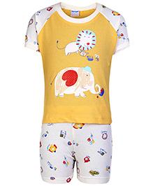 Tango Half Sleeves T-Shirt And Shorts Light Yellow - Animal Print