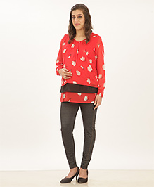 Uzazi Full Sleeves Maternity Top Floral Print - Red