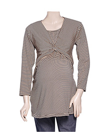 Uzazi Full Sleeves Maternity Top - Black And Fawn