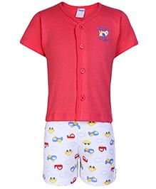 Tango Half Sleeves Front Open T-Shirt And Shorts Dark Pink