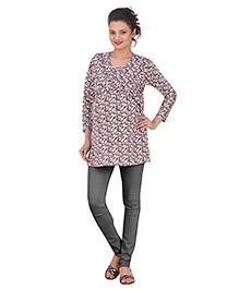 Uzazi Three Forth Sleeves Maternity Top - Maroon