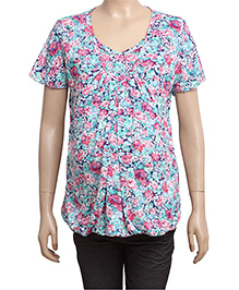Uzazi Half Sleeves Maternity Top Floral Print - Pink And Blue