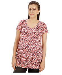 Uzazi Stylish And Comfortable Top For Expecting Moms Maroon L 100% Cotton