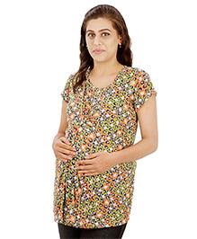 Uzazi Short Sleeves Maternity Nursing Top  - Grey Multicolor