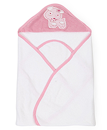 Ohms Hooded Bath Towel Puppy Patch - White Pink
