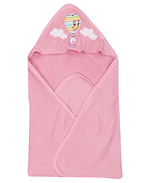 Ohms Hooded Bath Towel Teddy and Air Balloon Patch - Pink