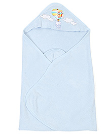 Ohms Hooded Bath Towel Teddy and Air Balloon Patch - Blue