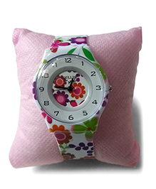 Aakriti Creations Floral Print Slim Analog Watch - Purple