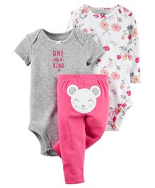 Carters Onesies And Pant Set - White Pink Grey