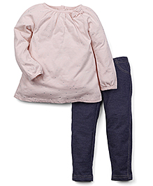 Carter's Full Sleeves Top With Pant Set - Blue Peach