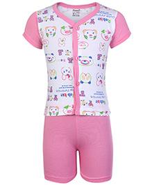 Namcy Half Sleeves Front Open T-Shirt And Shorts Pink - Rabbit Print