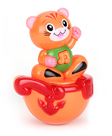 Playmate Kitty Puzzle Tumbler Roly Poly Toy - Orange Red