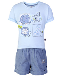 ToffyHouse Half Sleeves T-Shirt And Shorts Sky Blue - Print And Embroidery