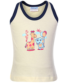 Tango Sleeveless Vest with Animals Print - Cream