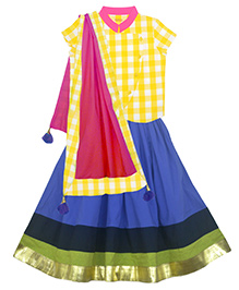 Pranava Organic Cotton Overlap Top & Flared Lehenga With Dupatta - Yellow & Blue