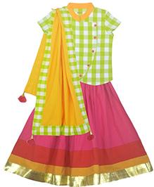 Pranava Organic Cotton Overlap Top & Flared Lehenga With Dupatta - Green & Pink