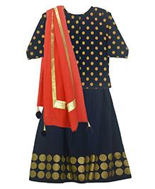 Pranava Organic Cotton Polkas Top  & Lehenga With  Dupatta - Navy Blue & Cherry Red