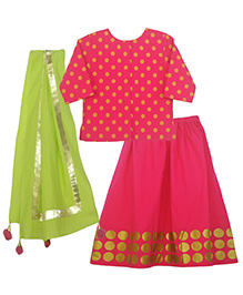 Pranava Organic Cotton Polkas Top  & Lehenga With Dupatta - Lime Green & Raspberry Pink