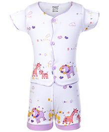Namcy Short Sleeves T-Shirt And Shorts Purple - Animal Print
