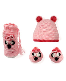 Mayra Knits Panther Cap Booties Bottle Cover - Pink
