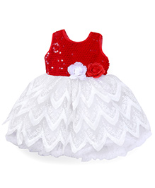Babyhug Sleeveless Sequined Frock With Floral Motifs - Red & White