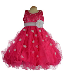 Simply Cute Gown With Pearls And Flower On Belt - Fuchsia