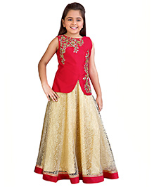 Betty By Tiny Kingdom Ethnic Evening Gown  - Red & Cream