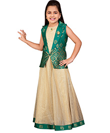 Betty By Tiny Kingdom Ethnic Evening Gown  - Green & Beige