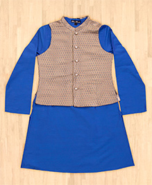 Silverthread Kurta With Jacket Set - Blue