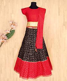 Silverthread Elegant Lehnga Choli Dupata Set - Red & Black