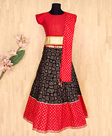 Silverthread Elegant Lehnga Choli Dupata Set - Red & Black
