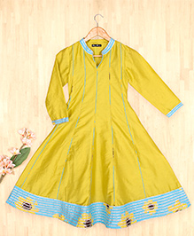 Silverthread Kalidar Kurta With Dupatta Set - Yellow & Blue