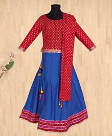 Silverthread Lehnga Choli Dupatta Set - Red