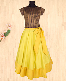 Silverthread Lehnga Choli With Bow -Yellow