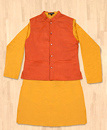Silverthread Festive Kurta With Jacket Set - Yellow
