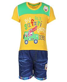 Babyhug Half Sleeves T-Shirt And Shorts Yellow - Car Print