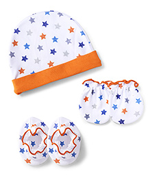 Ben Benny Cap Mittens And Booties Set Star Print - White And Orange