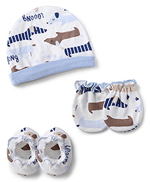 Ben Benny Cap Mittens And Booties Set Puppy Print - White And Blue