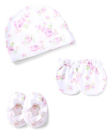 Ben Benny Cap Mittens And Booties Set Rose Print - White And Pink
