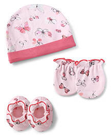 Ben Benny Cap Mittens And Booties Set Butterfly Print - Peach