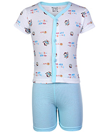 Namcy Half Sleeves Front Open Night Suit Sky Blue - Race Print