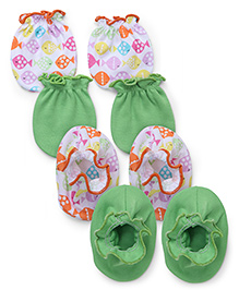 Ben Benny Mittens And Booties Set Of 2 - Green Multicolor