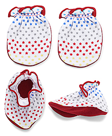 Ben Benny Mittens And Booties Set - Red And White