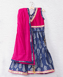 Kidcetra Tie Top Lehenga Choli With A Dupatta - Blue & Pink