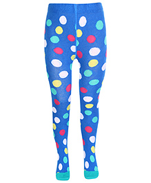 Mustang Dotted Print Footed Tights - Blue