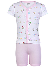 Namcy Half Sleeves Front Open Night Suit Light Pink - Race Print