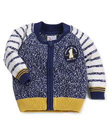 M&M Full Sleeves Sweater Embroidery - Blue White