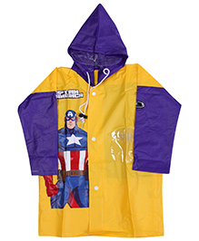 Marvel Full Sleeves Captain America Super Hero Print Hooded Raincoat - Yellow And Purple