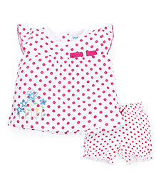Snuggles Cap Sleeves Dotted Top And Shorts Floral Embroidery - White Pink