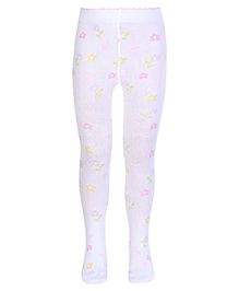 Mustang Flower Print Footed Tights - White